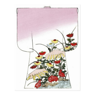 Cartão Postal Design de Woodblock do quimono do rosa japonês