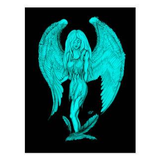 Cartão Postal Design do anjo, do preto e do verde