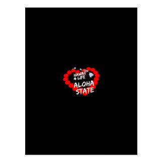 Cartão Postal Design do coração da vela para o estado de Havaí
