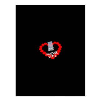 Cartão Postal Design do coração da vela para o estado de Indiana