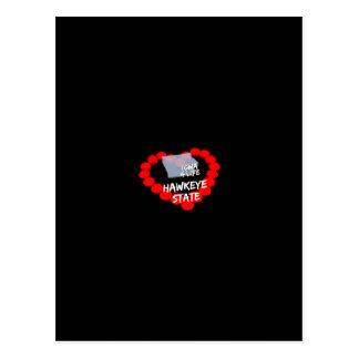 Cartão Postal Design do coração da vela para o estado de Iowa