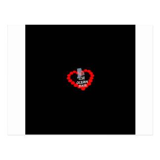 Cartão Postal Design do coração da vela para o estado de Rhode -