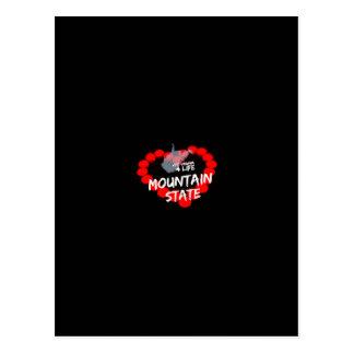 Cartão Postal Design do coração da vela para o estado de West