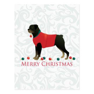 Cartão Postal Design do Feliz Natal de Rottweiler