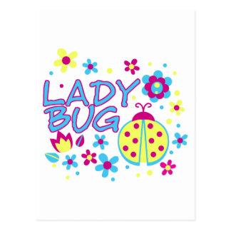 Cartão Postal Design do inseto da senhora