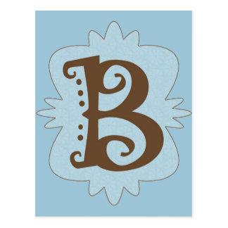 Cartão Postal Design do monograma da letra B