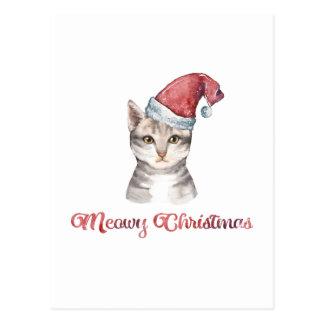 Cartão Postal Design do Natal de Meowy para amantes do gato