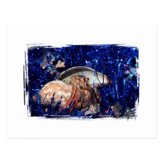 Cartão Postal Design do Natal do caranguejo de eremita contra o
