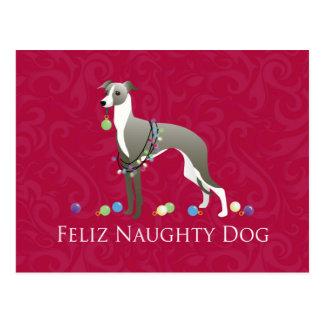 Cartão Postal Design do Natal do galgo italiano