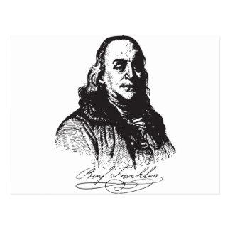 Cartão Postal Design do retrato e da assinatura de Benjamin