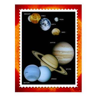 Cartão Postal Design do selo do sistema solar