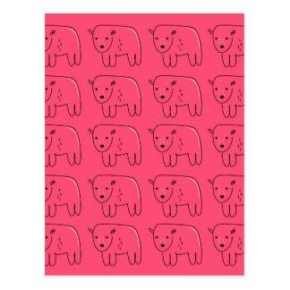 Cartão Postal Design doce cor-de-rosa pintado ursinhos