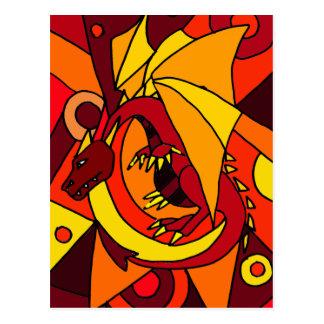 Cartão Postal Design fantástico da arte abstracta do dragão e do