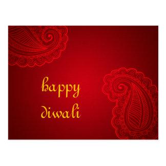Cartão Postal Design floral vermelho bonito Diwali feliz de