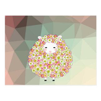 Cartão Postal Design florido dos carneiros do tom Pastel