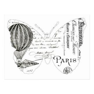 Cartão Postal Design francês de Paris da borboleta da tipografia