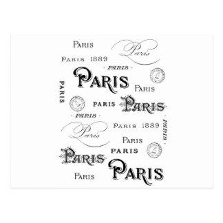 Cartão Postal design francês Paris da tipografia do vintage