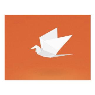 Cartão Postal Design gráfico alaranjado de cor do pássaro do