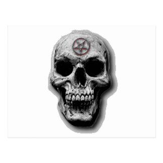 Cartão Postal Design mau satânico do crânio
