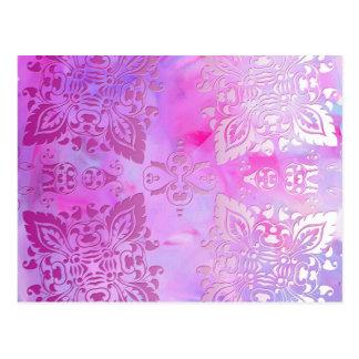Cartão Postal Design ornamentado cor-de-rosa
