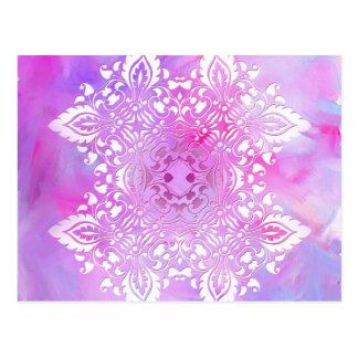 Cartão Postal Design ornamentado cor-de-rosa e branco
