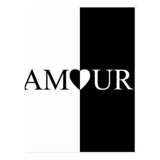 Cartão Postal Design preto e branco do amor do CASO AMOROSO