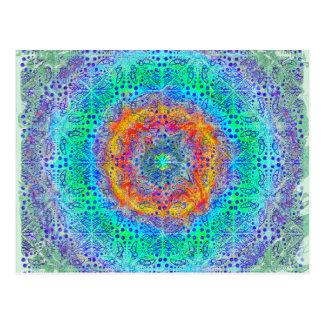 Cartão Postal design psicadélico do nascer do sol infinito