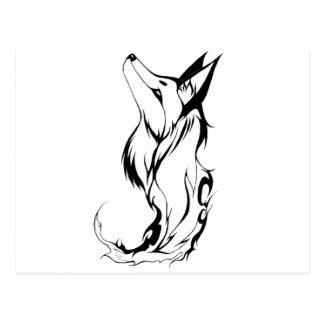Cartão Postal Design tribal do tatuagem do Fox