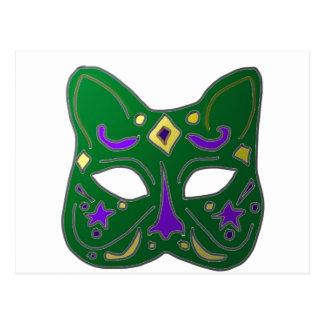 Cartão Postal Design Venetian verde da máscara do gato