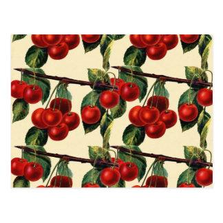 Cartão Postal Design vermelho antigo do papel de parede da fruta