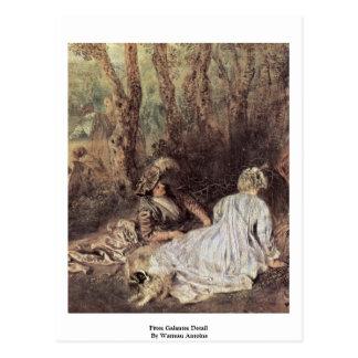 Cartão Postal Detalhe de Fêtes Galantes por Watteau Antoine