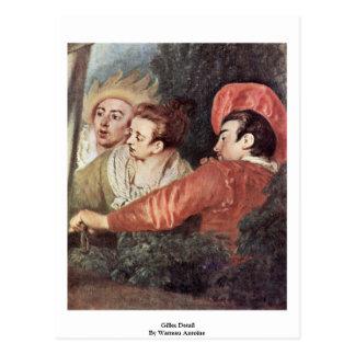 Cartão Postal Detalhe de Gilles por Watteau Antoine