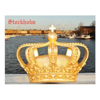 Cartão Postal Detalhe de ponte dourada da coroa em Éstocolmo,