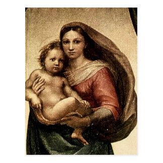 """Cartão Postal Detalhe de Raphael """"Sistine Madonna"""" (cerca de"""