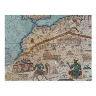 Cartão Postal Detalhe do atlas Catalan, 1375
