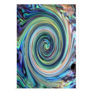 Cartão Postal Detalhe do twirl do marisco do olmo de Paua