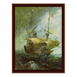Cartão Postal Detalhe tormentoso do mar por Eertvelt Andries Van