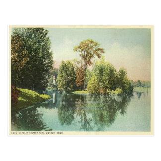 Cartão Postal Detroit, lago no parque de Palmer