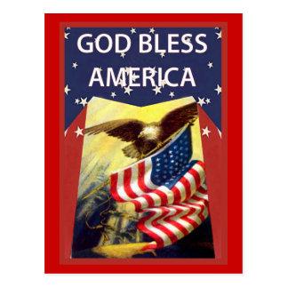 Cartão Postal Deus abençoe América, bandeira e águia americana