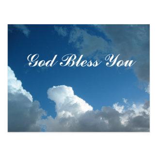 Cartão Postal deus abençoe das nuvens você