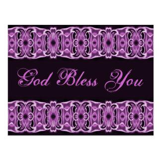 Cartão Postal Deus abençoe você preto roxo