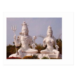 Cartão Postal Deus indiano - Shiva e sua esposa - Parvati