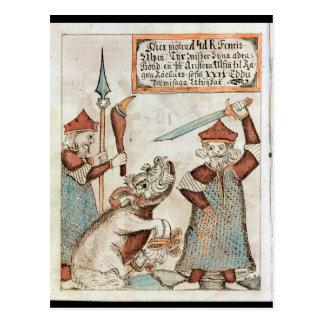 Cartão Postal Deus Tyr dos noruegueses que perde sua mão ao lobo
