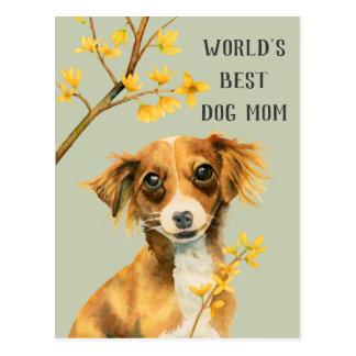 Cartão Postal Dia das mães da mamã | do filhote de cachorro e do