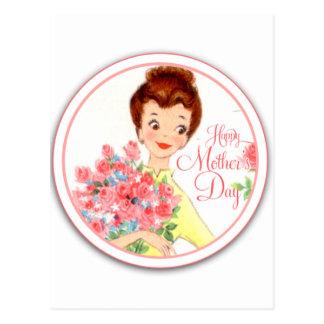 Cartão Postal Dia das mães feliz do vintage