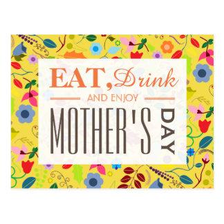 Cartão Postal Dia das mães floral chique moderno de Boho