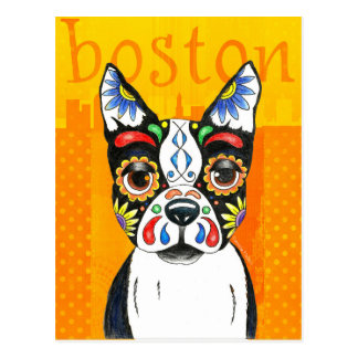 Cartão Postal Dia de Boston Terrier do morto