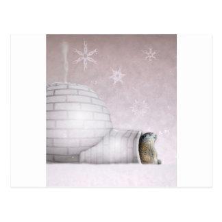 Cartão Postal Dia de Groundhog - Chillin no iglu