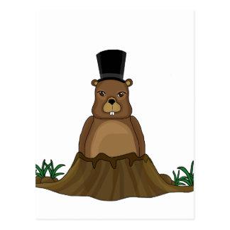 Cartão Postal Dia de Groundhog - estilo dos desenhos animados