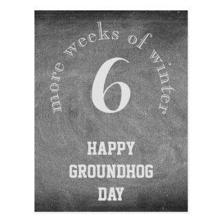 Cartão Postal Dia de Groundhog, tipografia do quadro de 6 mais